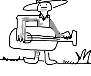 Cowboy strummin' on the prairie