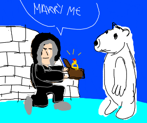 Eskimo proposes to polar bear