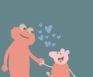 Elmo and Peppa Pig in love