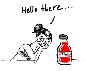 Woman saying hello to ketchup bottle