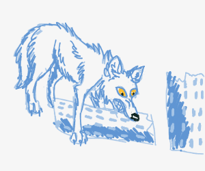 A wolf eating an entire skyscraper