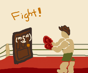 Door and man in boxing ring