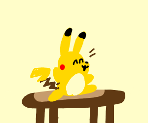 Pikachu dancing on a table