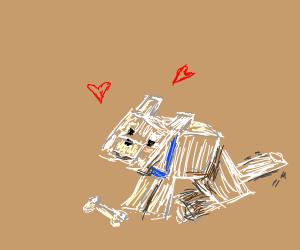 A minecraft dog with blue collar