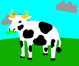 cow with green mustache