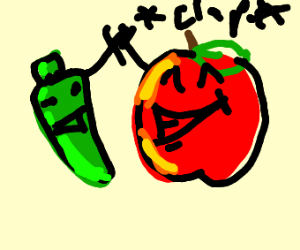 A pepper and apple have the perfect high five