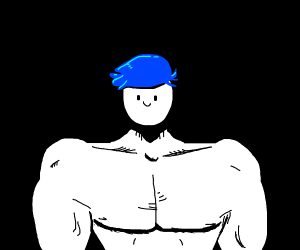 blue haired buff boi