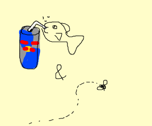 A fish drinks Red bull and fly.