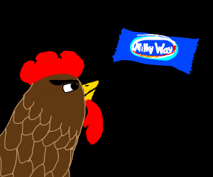 Rooster glares into the milky way