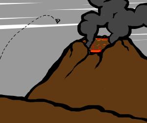 Diamond jumping into a volcano