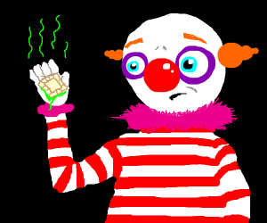 concerned  clown eats old ravioli