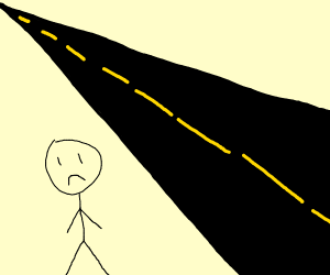 A stickman being depressed by a road