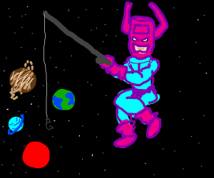 Galactus holding a fishing rod