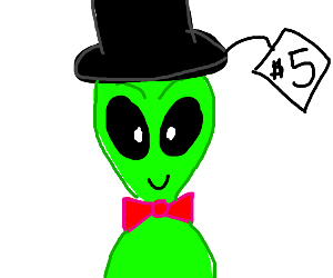 a cute alien wearing a hat that says five