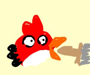 angry bird eating a broom