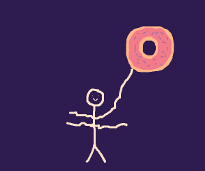 Human w/ 4 arms holdng gigantic donut up high