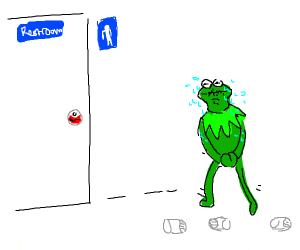 Kermit needs to piss after drinking 3 cups