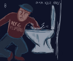 Plumber sticks his hands in a toilet