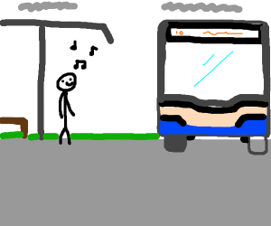 Guy humming to himself whilst entering a bus