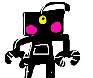 Black robo with pink cheeks and a yellow eye