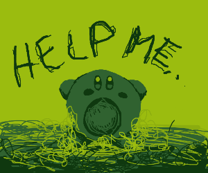 Kirby in green jelly
