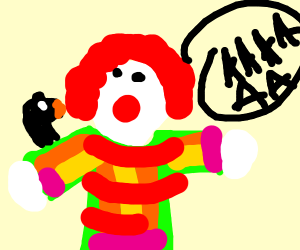 clown is scared of the crow in his shoulder