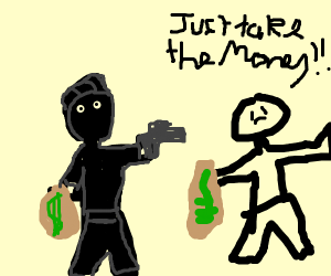 Level 100 bank robber with gun