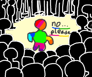 Rainbow Man gets unwanted attention