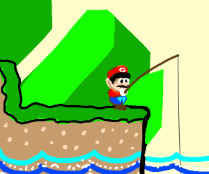 Man with red hat fishing
