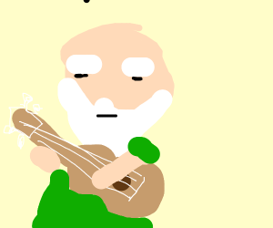 old man with a ukulele