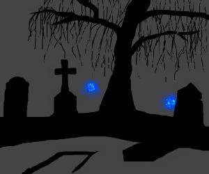 Graveyard at night
