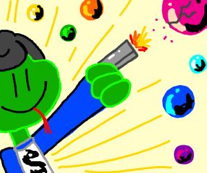 Lizard man shoots marbles