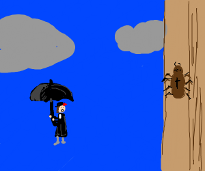 Mary poppins floating away, looking at spider