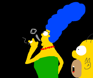 Marge smoking