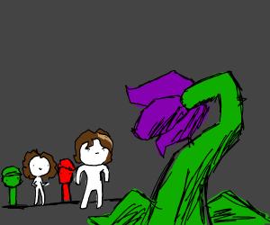arin fights a purple plant
