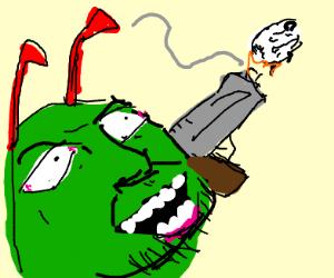 JonTron as a caterpillar shooting a sheep