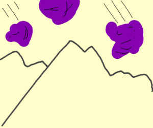 Purple goop from the sky falls on mountains
