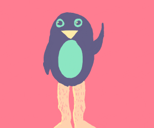 penguin with human legs