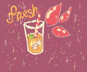 orange/pink drink