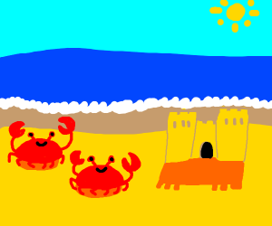 Crabs and a sand castle