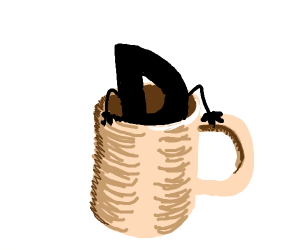 silhouette coming out of a mug