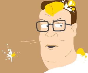 Hank hill with twinkies or somethin in hair