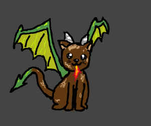brown cat mixed with dragon
