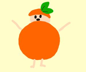 A man in an orange costume