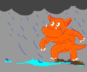 a monster with an underbite seeing some rain
