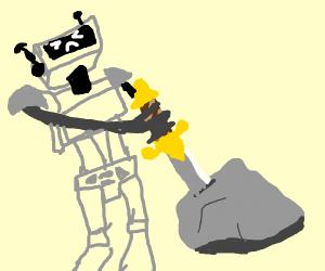 robot attempts to get excalibur