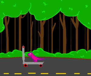 Dinosaur rides a kick scooter