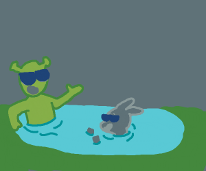 The party's never ogre when you have a pool