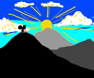 a mouse w chez on a mountain stares into sky