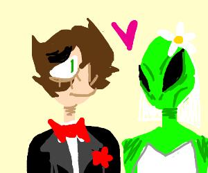 Man marries green alien